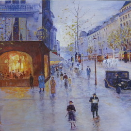 Slobodan Paunovic: 'along the street 1930 y', 2017 Oil Painting, Cityscape. Artist Description: paintings, paris, love, people, oil on canvas, ...