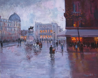 Slobodan Paunovic Artwork on square 1930 y, 2017 Oil Painting, Cityscape