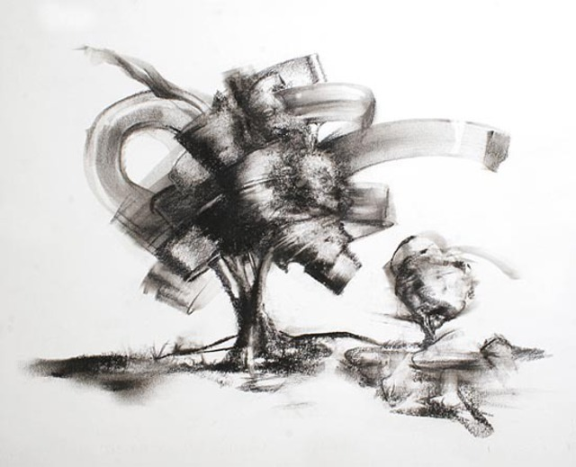 Paul Fitzgerald  'Swirling Wind', created in 2010, Original Drawing Charcoal.