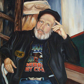 Thomas Williams Artwork Biker, 2000 Oil Painting, Portrait