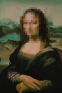 Steven Lynch: 'Identity Theft', 2010 Oil Painting, Satire. Artist Description:  	Mona Lisa with a pixellated face. Slavishly reproduced old master but then the image destroyed by the face having been stolen by individually painted pixels, but if you stand back the face reappears with as much clarity as the rest. An allegory for something but I don' ...