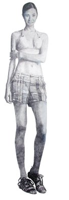 Pencil Drawing by Steven Lynch titled: Woman Full Length sketch, 2008
