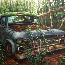 Suzan Marczak: 'Pacha Mama fights back', 2012 Acrylic Painting, Zeitgeist. Artist Description:     the forces of nature take over a derelict vehicle, and the rainforest reclaims possession of its own.    ...