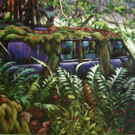 Suzan Marczak: 'Pacha Mama gets her groove on', 2012 Acrylic Painting, Zeitgeist. Artist Description:   the forces of nature take over a derelict vehicle, and the rainforest reclaims possession of its own.  ...