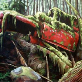 Suzan Marczak: 'Pacha Mama has her way', 2012 Acrylic Painting, Zeitgeist. Artist Description:      the forces of nature take over a derelict vehicle, and the rainforest reclaims possession of its own.     ...