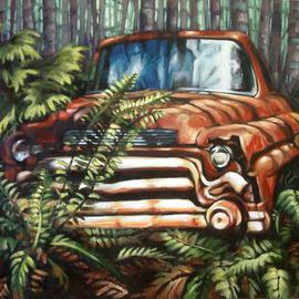 Suzan Marczak: 'Pacha Mamas Fan Dance', 2012 Acrylic Painting, Zeitgeist. Artist Description:    the forces of nature take over a derelict vehicle, and the rainforest reclaims possession of its own.   ...