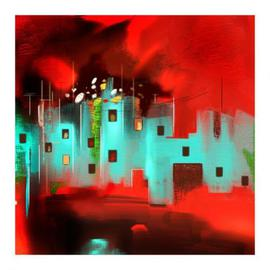 Braj Kishor Artwork landscape, 2010 Acrylic Painting, Abstract