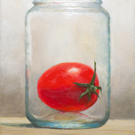 Mikhail Velavok: 'a jar', 2018 Oil Painting, Still Life. Artist Description: Original oil painting on primed hardboard.  The artwork is being sold unframed.  The frame in the additional photo is an example only.tomatojarobjectstill lifeoriginal oil paintingglasstransparentredbrown...