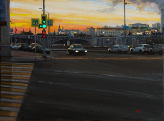 Mikhail Kovalev Artwork evening on the embankment, 2016 Oil Painting, Cityscape