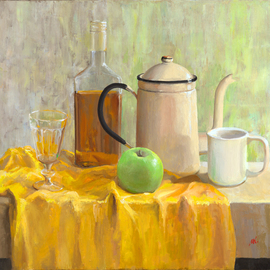Mikhail Velavok: 'green apple', 2017 Oil Painting, Still Life. Artist Description: Original oil on canvas stretched on a wooden underframe. The artwork is being sold unframed. The frame in the additional photo is an example only.still life, apple, green apple, mug, cup, glass, wineglass, bottle, bottle glass, alcohol, coffeepot, coffee pot, wrinkle, fold, yellow, fabric...
