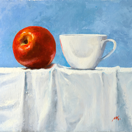 Mikhail Velavok: 'red white', 2017 Oil Painting, Still Life. Artist Description: Original oil painting on canvas. The work is being sold unframed. The frame in the additional photo is an example only.still life, apple, red apple, cup, white cup, red, white, wrinkle, fold, fabric, white fabric, tablecloth...