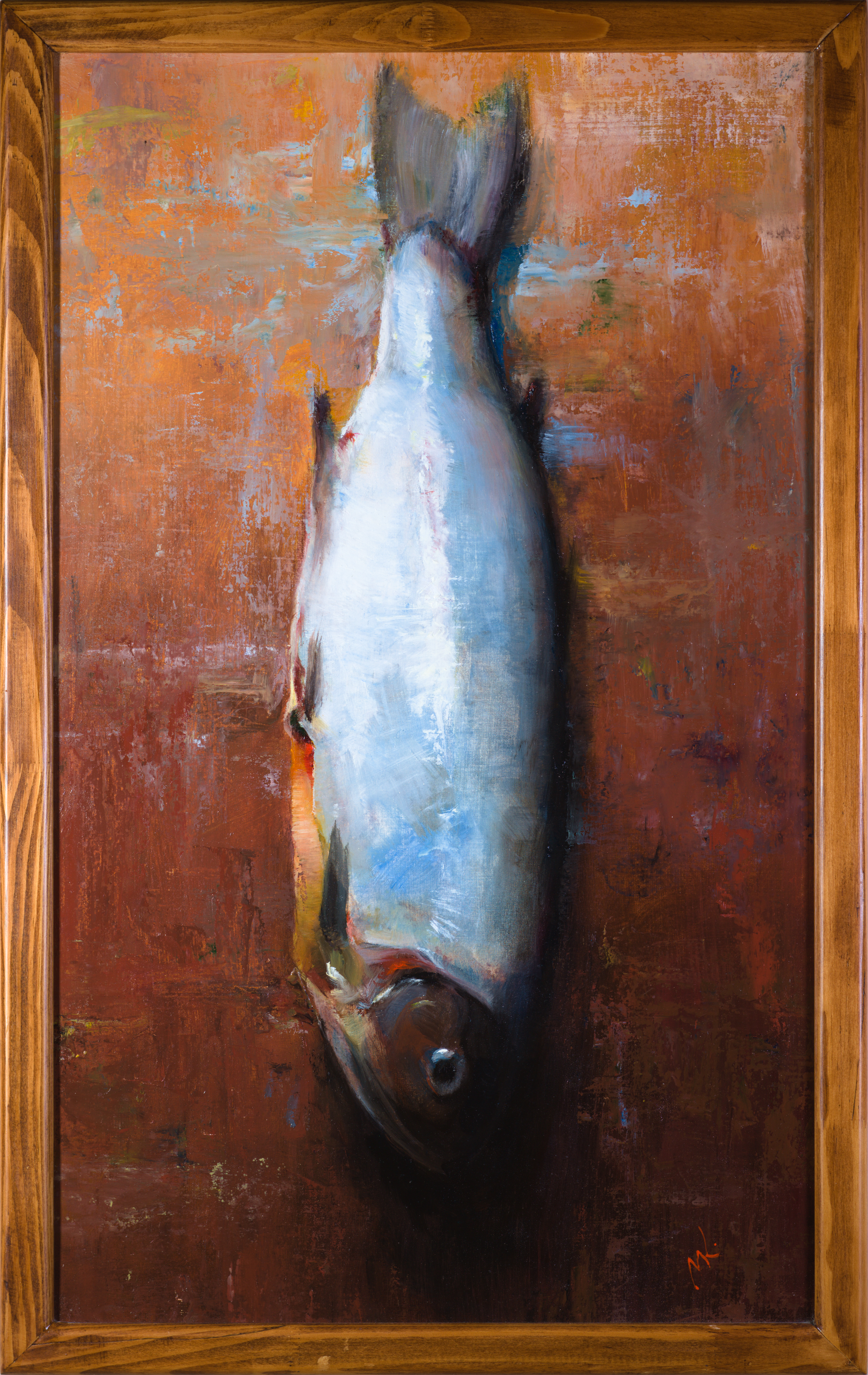 Mikhail Velavok: 'sad salty fish', 2019 Oil Painting, Fish. Artist Description: Original oil painting on primed cotton cloth glued on cardboard.  The artwork is being sold framed.fish, salty fish, dried fish, dead fish, object, still life, original oil painting, brown, red...