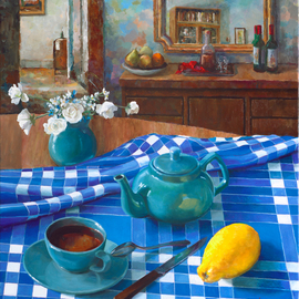 Mikhail Velavok: 'tea with lemon comp 2', 2018 Oil Painting, Still Life. Artist Description: Original oil painting on stretched canvas. The artwork is being sold unframed. The frame in the additional photo is an example only.tea, lemon, teapot, cup, still life, blue, checkered, fold, room, interior...
