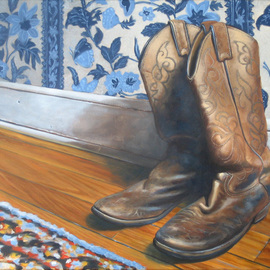 Steve Miller: 'Daddys Home', 2008 Oil Painting, Western. Artist Description:  Western Cowboy boots wooden floor  ...