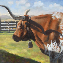 Steve Miller: 'Red Bull', 2009 Oil Painting, Western. Artist Description: Texas longhorn Stockyards bull cow western ...