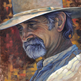 Steve Miller: 'Regret', 2011 Oil Painting, Western. Artist Description:     Western Fort Worth Stockyards cowboy hat beard  ...