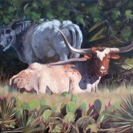 Steve Miller: 'Resting', 2009 Oil Painting, Western. Artist Description:  Texas longhorn hill country cactus yuca lansacape bulls cattle steer horns    ...