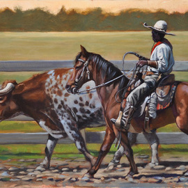 Steve Miller: 'The Red Bandana', 2011 Oil Painting, Western. Artist Description:    Western Fort Worth Stockyards Black cowboy longhorn cattle bull bandana horse steer  ...