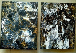 Smita Biswas: 'black current', 2018 Acrylic Painting, Abstract. Artist Description: 2 panels set of fluid acrylic abstract  painting. 30 x 40 cm each. It resonates the chaos and symmetry of the universe. Balance of positive and negative energy. . Dynamic and static. . Both are the ingredients of the cosmos. Black and white creates a strange dreamscape that color never ...