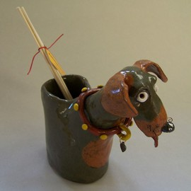 Suzanne Noll Artwork Brown and Tan Dog Oil Reed Diffuser Item V1075, 2011 Handbuilt Ceramics, Dogs