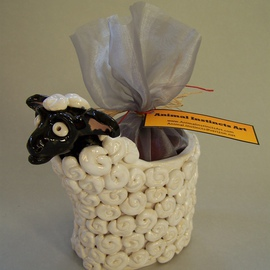 Suzanne Noll: 'Ceramic Sheep Potpourri Vase Item V1080', 2011 Mixed Media Sculpture, Animals. Artist Description:         This ceramic Sheep potpourri vase comes with a bag of Apple Cider Potpourri to be both a great decorative piece as well as filling your home with pleasant fragrances. Some believe the symbolism of sheep is that of great wealth both spiritually and financially. In this economy, we ...