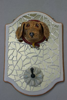 Suzanne Noll: 'Golden Lab Leash Holder LH1159', 2012 Mosaic, Animals.        hand formed this Golden Lab face out of high fired ceramics with the use of various glazes, while applying gold toned wire for its whiskers and a pewter tag to the collar that reads