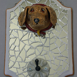 Suzanne Noll Artwork Golden Lab Leash Holder LH1159, 2012 Mosaic, Animals