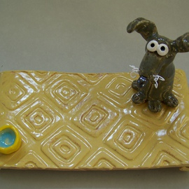 Suzanne Noll Artwork Gray Dog Post it Note Holder, 2011 Other Ceramics, Dogs
