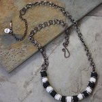 Whimsical Handmade Black And White Necklace N0107, Suzanne Noll