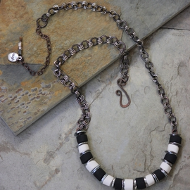 Whimsical Handmade Black and White Necklace N0107