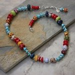 Whimsical Handmade Porcelain Beads, Turquoise And Coral Necklace N0106, Suzanne Noll