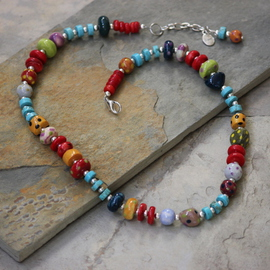 Whimsical Handmade Porcelain Beads, Turquoise and Coral Necklace N0106