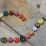 Whimsical Handmade Porcelain Multi Color, Polka dot Necklace N0105 By Suzanne Noll