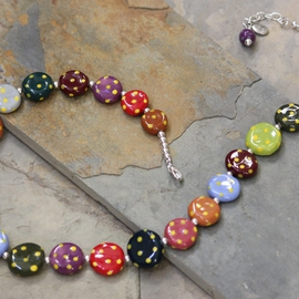 Whimsical Handmade Porcelain Multi Color, Polka dot Necklace N0105