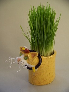 Suzanne Noll: 'Yellow Ceramic Cat Grass Holder Item V1077', 2011 Other Ceramics, Animals.         This ceramic cat vase with the bird addition on his head would make a great addition to any cat filled home, giving a little decor to a healthy cat treat. ( Grass Seed Included) . Also good to grow fresh catnip in. The vase is made with high fire, ceramic clay with...