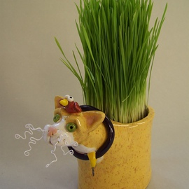 Suzanne Noll Artwork Yellow Ceramic Cat Grass Holder Item V1077, 2011 Other Ceramics, Animals