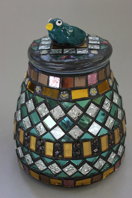 Suzanne Noll  ' Mosaic, Decorative Jar With Bird On Top Item 1156', created in 2012, Original Ceramics Other.