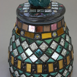 Mosaic, Decorative Jar with Bird on Top Item 1156 By Suzanne Noll
