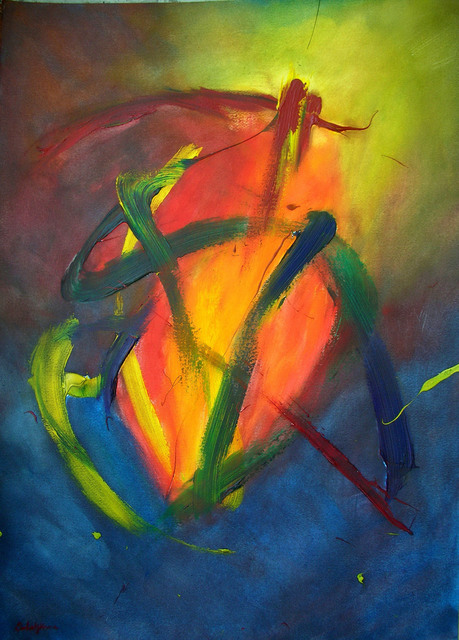 Richard Solstjarna  'Phoenix No6', created in 2006, Original Painting Tempera.