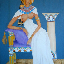 Jayne Somogy: 'nile nymph', 2017 Acrylic Painting, Famous People. Artist Description: This is my stylized interpretation of the temptress of the Nile, Cleopatra VII  70 B. C. - - 30 B. C. , queen of Egypt. This piece is the first in my series,  Famous Flirts. ...