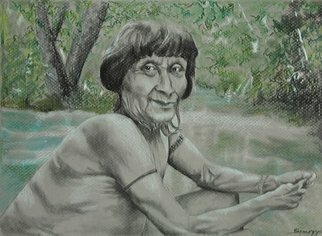 Jayne Somogy: 'noble visage amazon awa', 2014 Charcoal Drawing, Indiginous. This is a charcoal and pastel drawing depicting a wise elder of the AwA! , an indigenous tribe from the dwindling Brazilian rainforest. One of my artistic goals is to present and preserve the various indigenous cultures and peoples around the world, many of whom are in danger of becoming  extinct. ...
