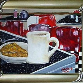 Sophia Stucki: 'American Pie', 2002 Acrylic Painting, Still Life. Artist Description:  American Pie is in a 50' s diner framed and ready to hang , coffee, apple pie old diner, Retro...