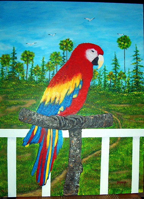 Sophia Stucki  'Parrot  View From The Porch  Marsh Palms Seagulls', created in 2003, Original Painting Oil.