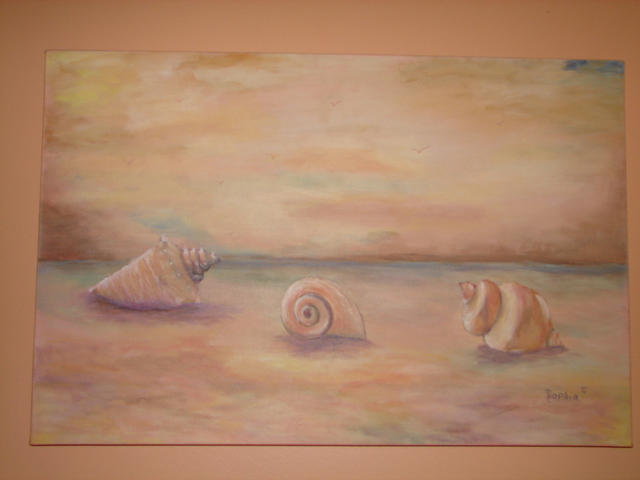 Sophia Stucki  'Seashells On The Beach', created in 2007, Original Painting Oil.
