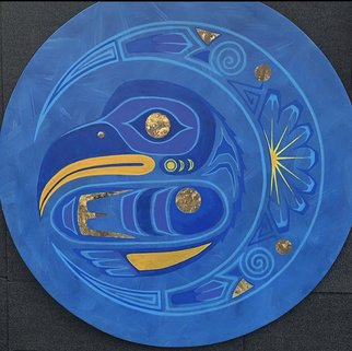 Roger Perkins: 'blue thunderbird', 2020 Acrylic Painting, Spiritual. American Indian Artist inspired by the Cultures of Turtle Island...