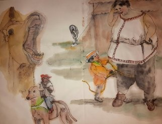 Debbi Chan: 'Come one come all to circus album', 2015 Watercolor, Circus. Artist Description:   These album leaves are part of a larger 70'continuous story painting in a folding album.    ...