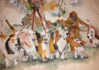 Debbi Chan: 'Dogs  dogs  dogs album', 2015 Watercolor, Dogs. Artist Description:  These album leaves are part of a larger 70'continuous story painting in a folding album.   ...