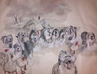 Debbi Chan: 'Dogs and a few more dogs ', 2015 Artistic Book, Dogs. Artist Description:  These album leaves are part of a larger 70'continuous story painting in a folding album.  ...