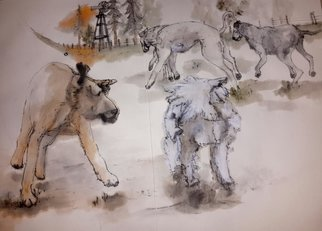 Debbi Chan: 'Dogs dogs  dogs album ', 2015 Artistic Book, Dogs. Artist Description:  These album leaves are part of a larger 70'continuous story painting in a folding album.  ...