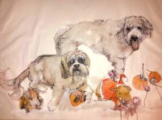 Debbi Chan: 'Dogs dogs  dogs album ', 2015 Artistic Book, Dogs. Artist Description:            These album leaves are part of a larger70'continuous story painting in a folding album.            ...